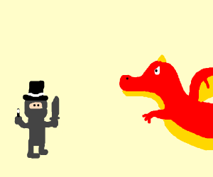 Ferocious clipart magician A (drawing dragon versus ferocious