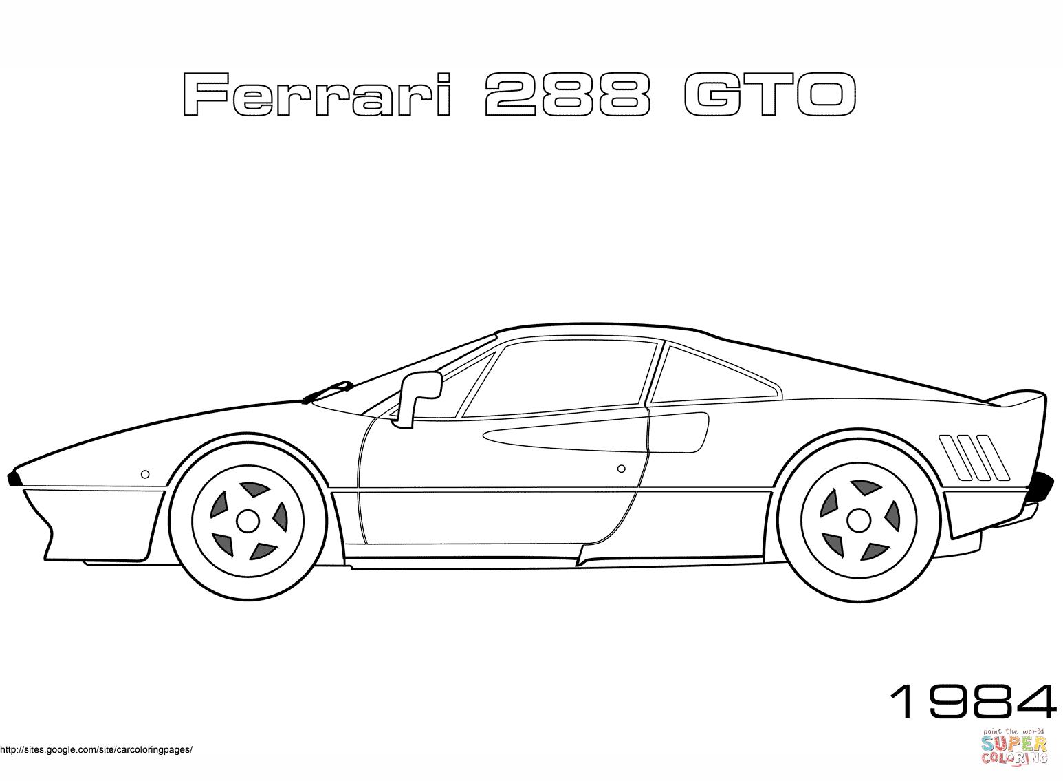 Ferarri clipart coloring page Coloring 288 Coloring Ferrari GTO