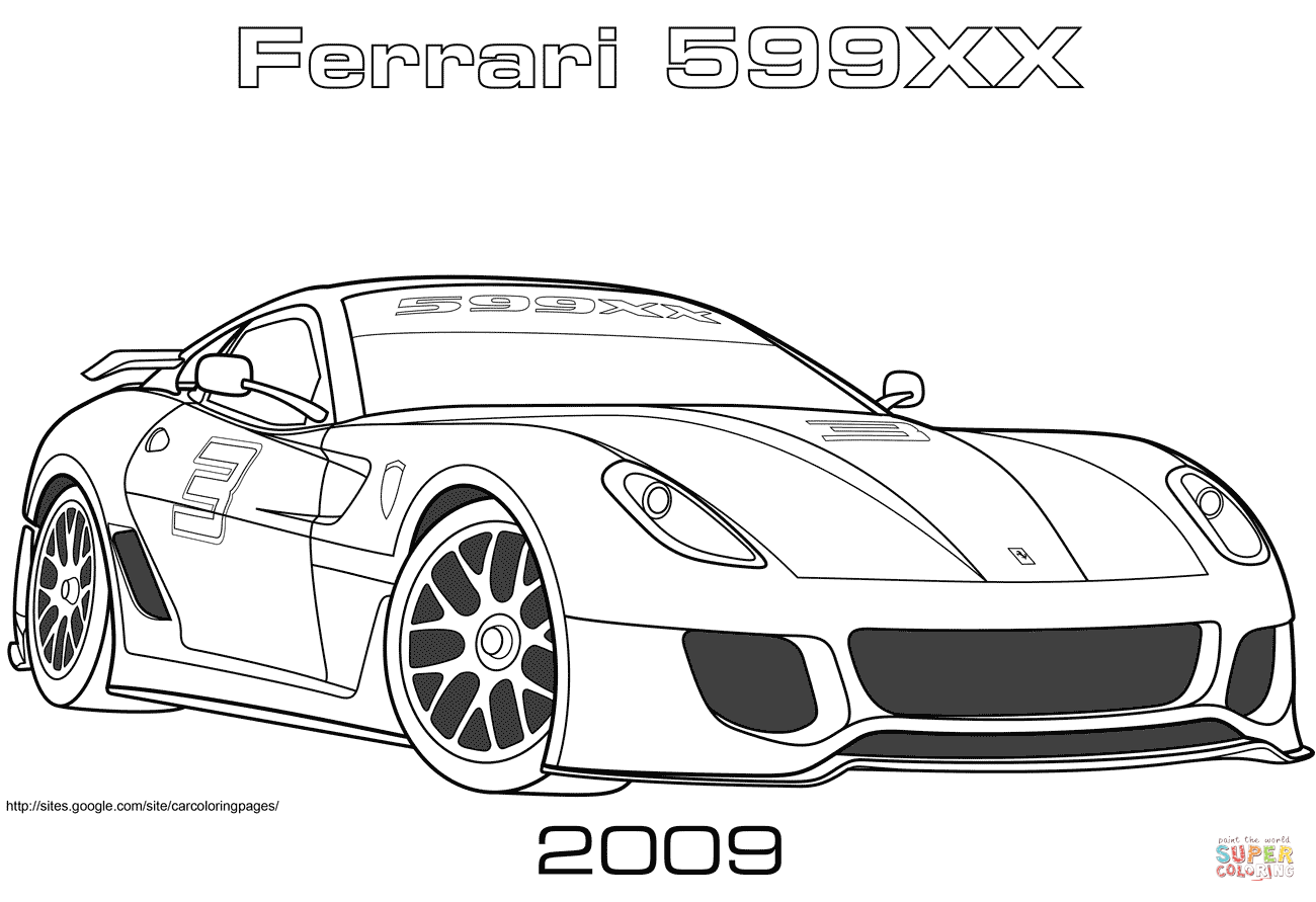 Ferrari clipart colouring page 599XX pages coloring Coloring 2009
