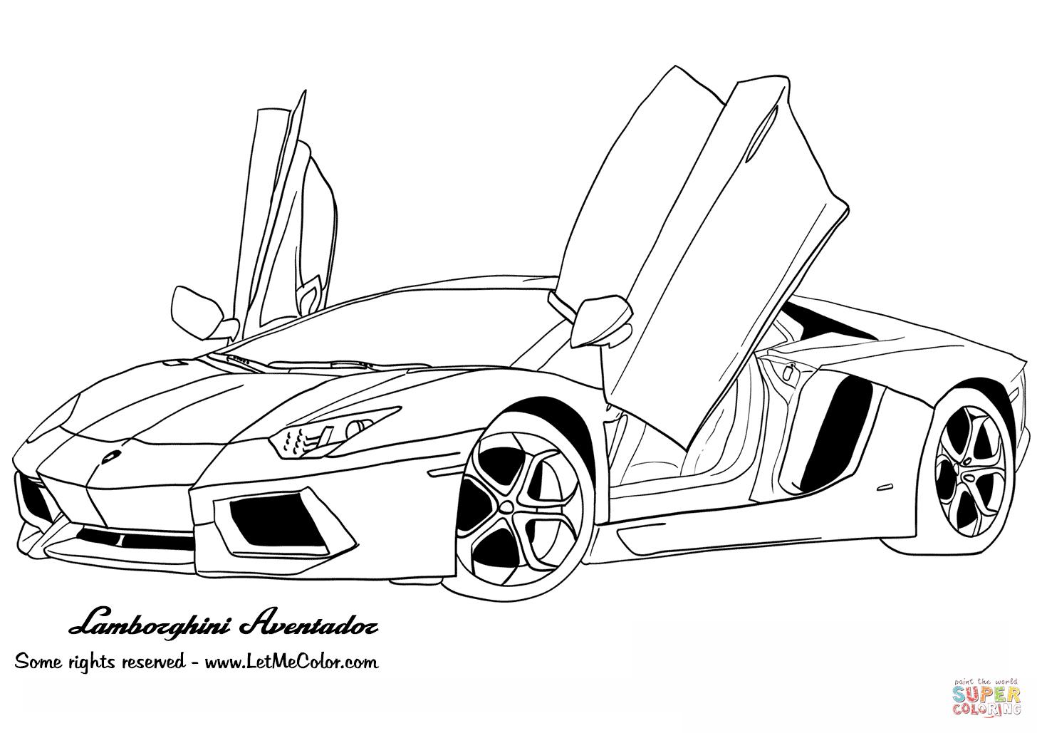 Ferrari clipart colouring page Lamborghini Aventador the Click Coloring