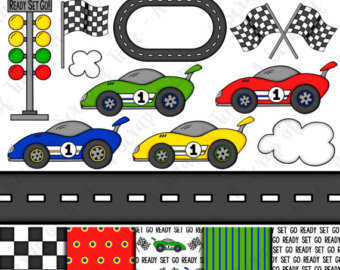 Roadway clipart car rally Digital of Race Etsy Paper
