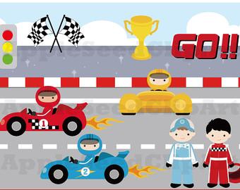 Racer clipart cute Instant boys car Digital Art