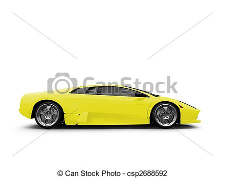 Ferrari clipart side view Isolated  yellow sport isolated