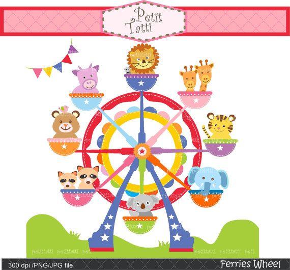 Carnival clipart ferris wheel 65 clip art amusement Digital