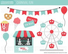 Ferris Wheel clipart funny Set of Carnival  and