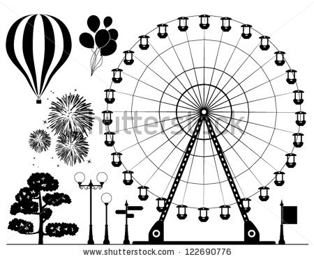 Drawn ferris wheel vintage Background background elements vector stock