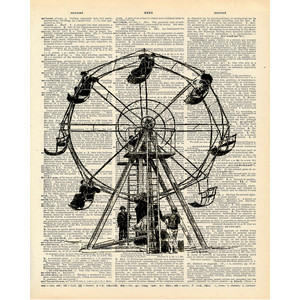 Ferris Wheel clipart made recycled material Vintage Book Polyvore Upcycled Vintage