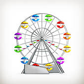 Ferris Wheel clipart red #1