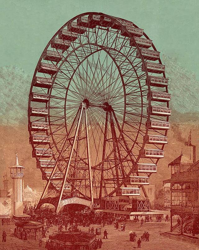 Ferris Wheel clipart vintage carnival Postcard Clipart A Ferris Vintage
