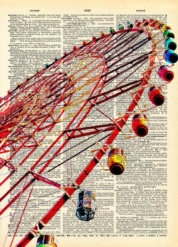 Ferris Wheel clipart vintage carnival Wheel Book Book Antique Etsy
