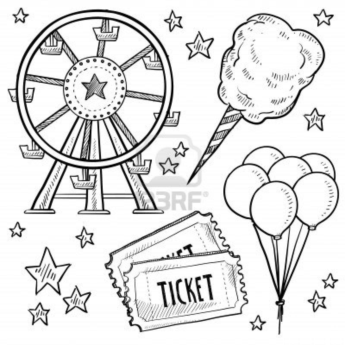 Amusement Park clipart sketch Clipart sketch fair  Doodle