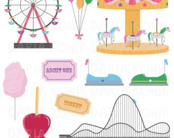 Ferris Wheel clipart vintage carousel Carousel Set wheel Funfair rollercoaster