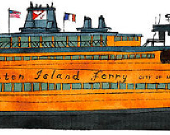 Ferry clipart toy boat / boat Island illustration Staten