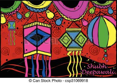 Festival clipart akash Style lamp Vector Indian art
