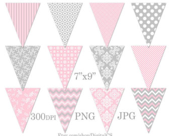 Decoration clipart pink party Digital Art Clipart Bunting Printable