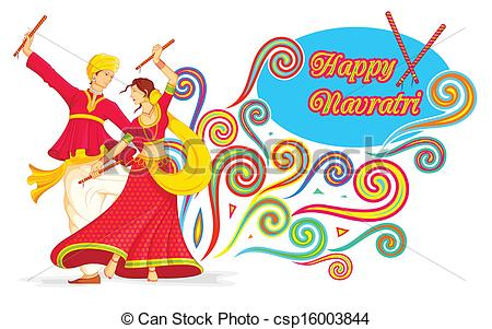 Festival clipart dandiya  Couple playing Navratri illustration