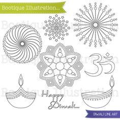 Festival clipart diwali deepak Diwali Clipart Stamp Art Line