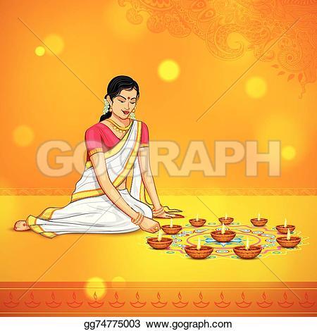 Indian clipart diwali Festival Woman festival Vector diwali