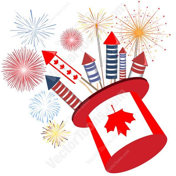 Festival clipart firework rocket Cartoon fireworks With Canadian With