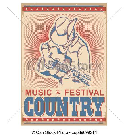 Festival clipart guitar art American music music playing Vector