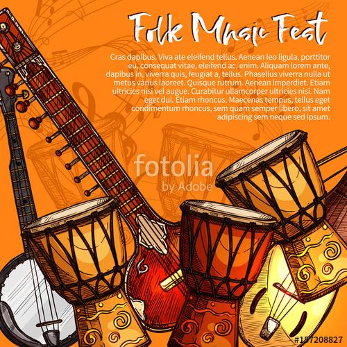 Festival clipart indian musical instrument Musical folk of folk Stock