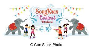 Festival clipart songkarn Vector Clip Kids Water with