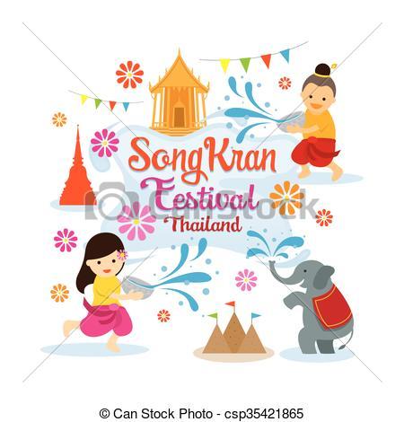 Festival clipart songkarn Songkran Vector Playing Clip Playing