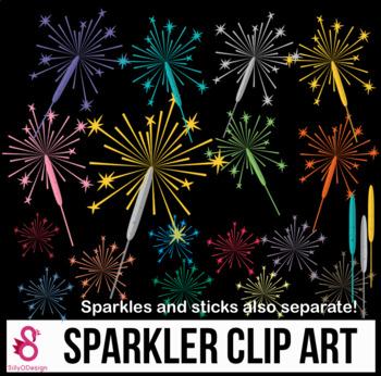 New Year clipart sparks Sparkler  Clipart Fireworks