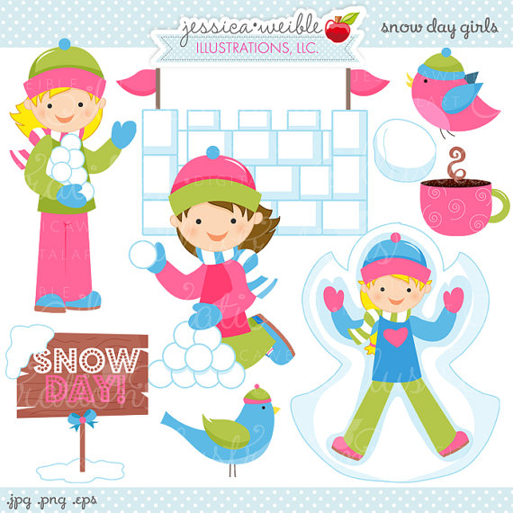 Fight clipart snow Girls Snow Day Cute Use