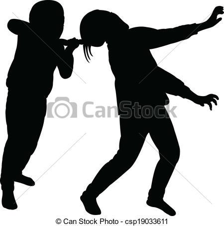 Fight clipart unfriendly Vector Vector vector girls fighting