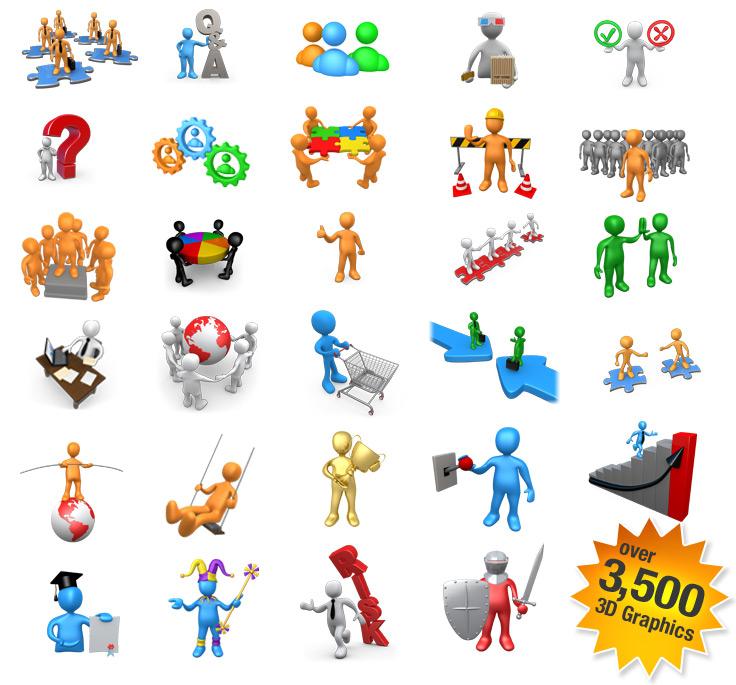 Figurine clipart 3d stick figure Office 2000 figures Figure Bundle