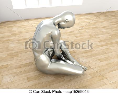 Figurine clipart depression Illustration 3D Abstract of woman