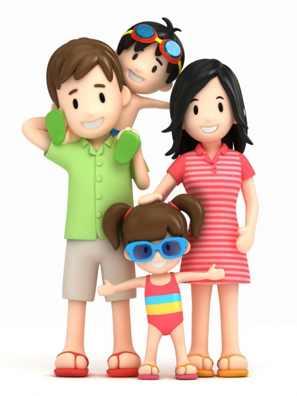 3D clipart happy $1Clipart garden Family clipart illustration