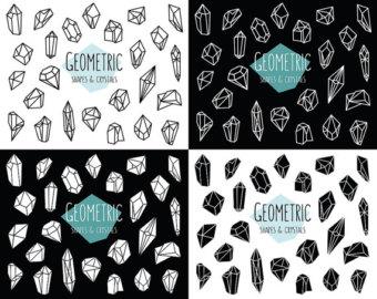 Crystal clipart diamond shape White Geometric & Crystals Etsy