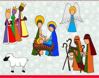 Figurine clipart nativity Printable party art Scene Christmas
