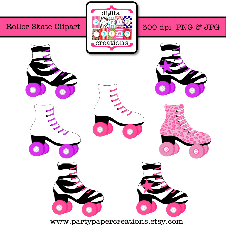 Pink clipart roller skate Roller Leopard Print Skate Clipart