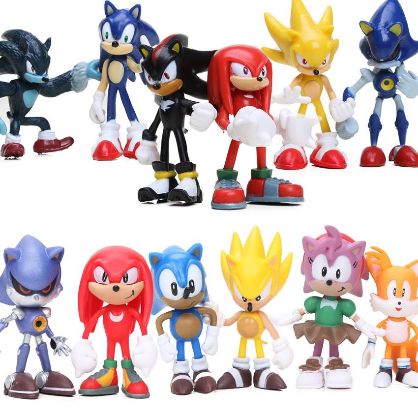 Figurine clipart shadow Sonic Figure PVC Popular 6pcs/lot