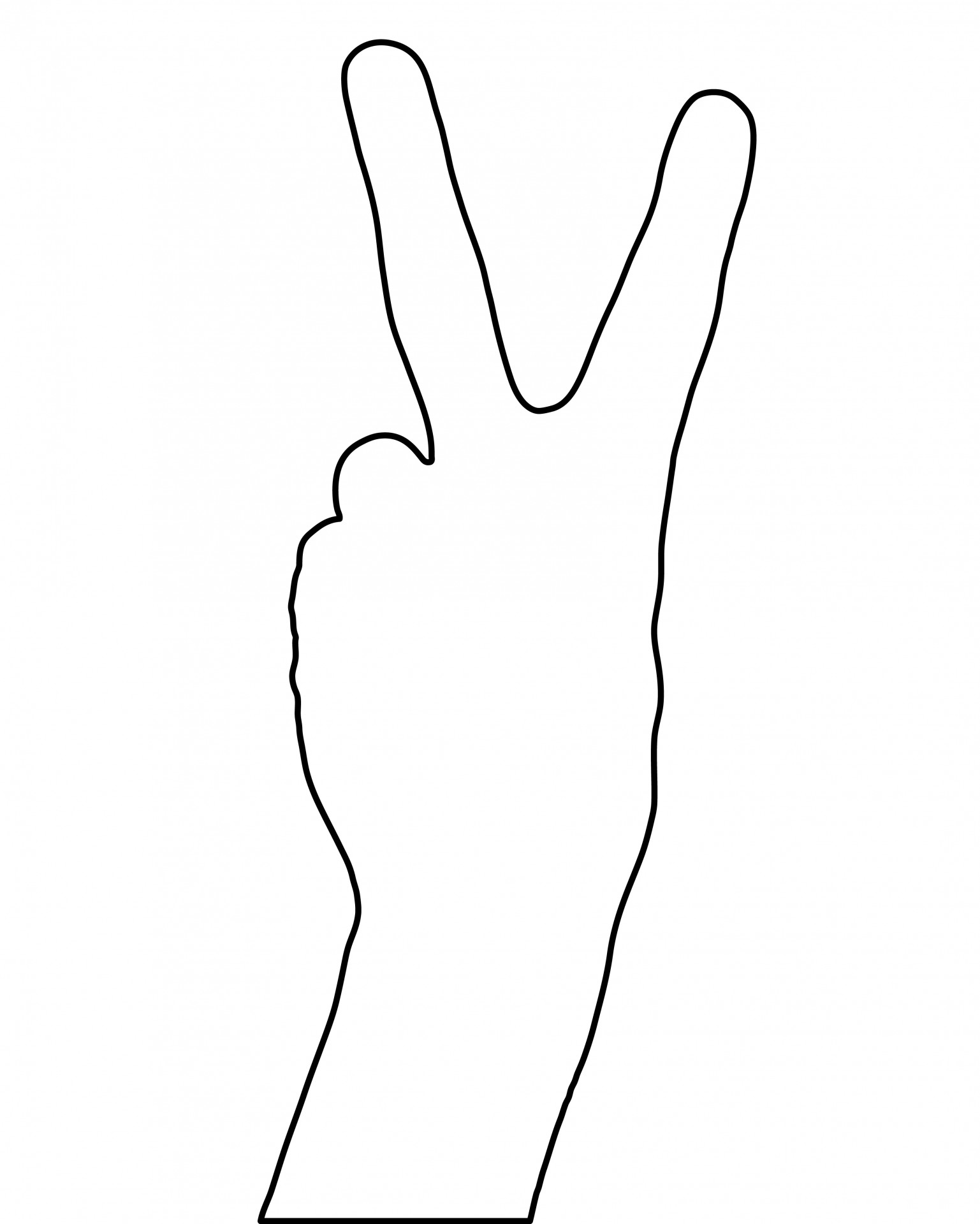 Finger clipart number one Two Two Outline Victory Fingers
