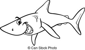 Fins clipart black and white White shark  coloring book