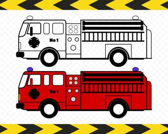Fire Truck clipart yellow car Firemen decal Svg Etsy truck
