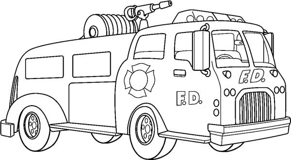 Fire Truck clipart coloring book Page  Canon Truck Coloring