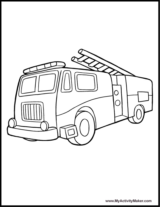 Fire Truck clipart coloring book · Coloring Fire Coloring Pages