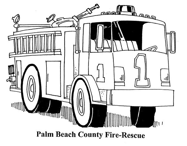 Fire Truck clipart coloring book Best on Coloring 24 images