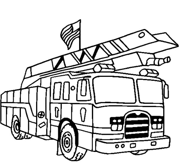 Fire Truck clipart coloring page Truck para printable engine coloring