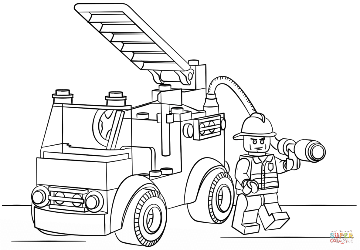 Fire Truck clipart coloring page Lego Pages Click Coloring Fire