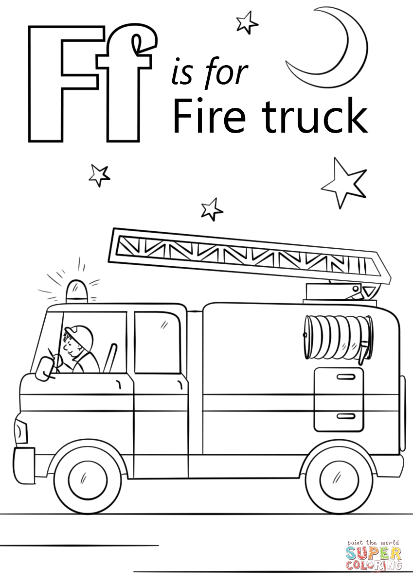 Fire Truck clipart coloring page Coloring Truck Letter Printable iPad