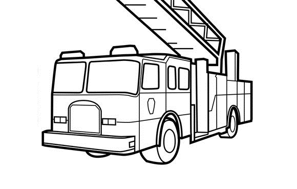 Fire Truck clipart coloring page Truck truck printable fire coloring