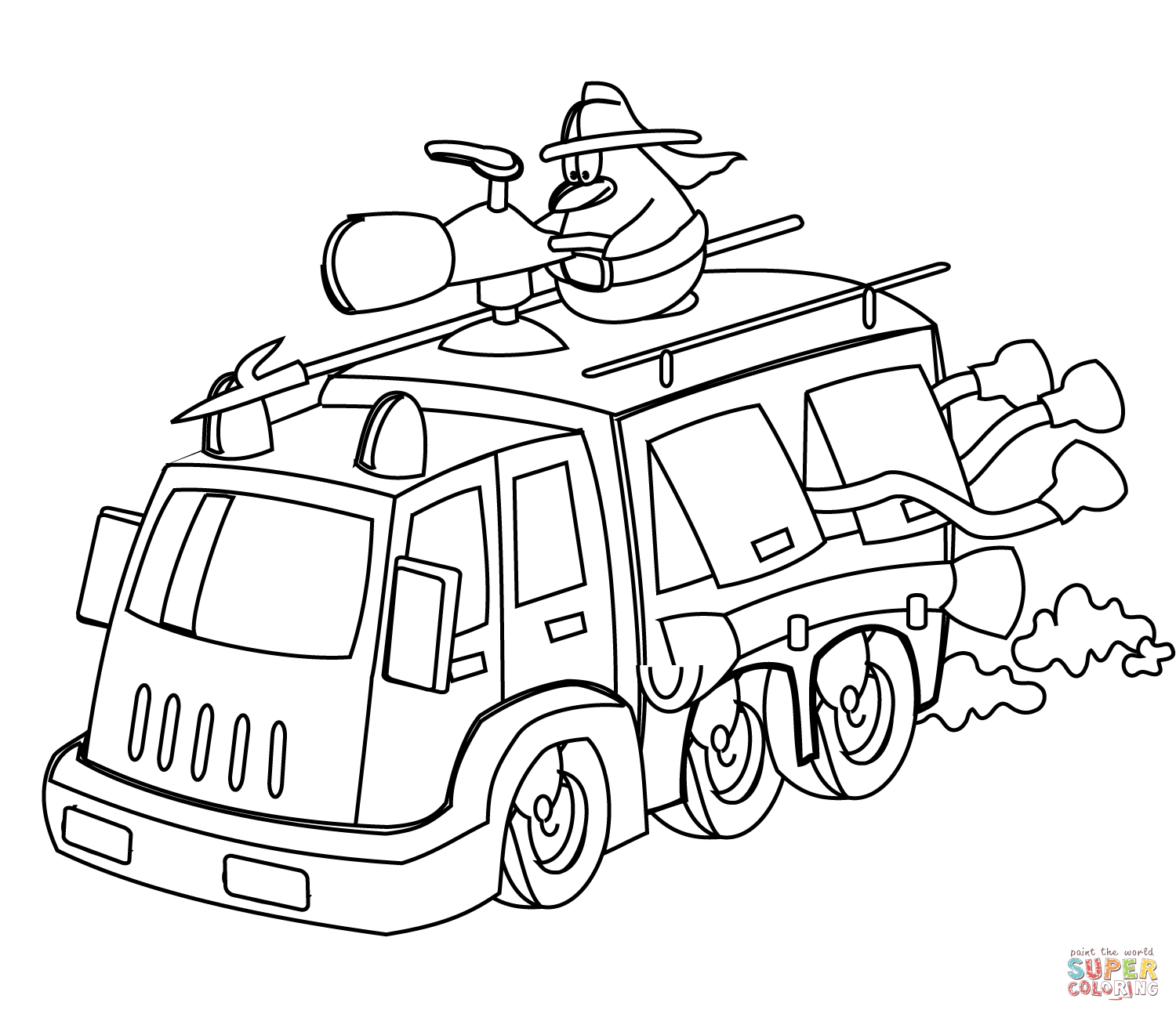 Fire Truck clipart coloring page Truck Cartoon Fire Coloring page