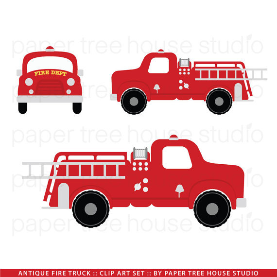 Fire Truck clipart commercial Set Fire Clip Art Vintage