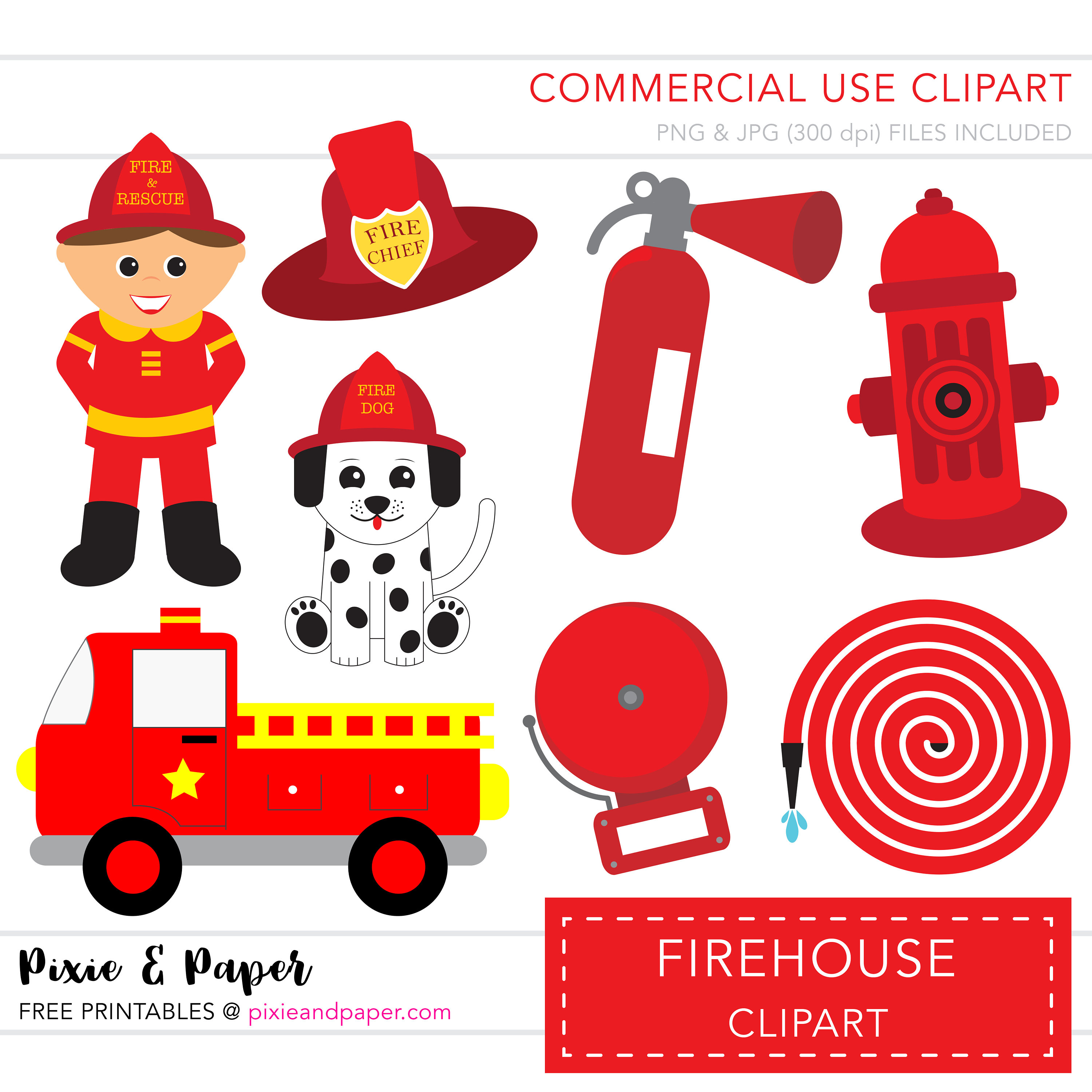 Fire Truck clipart commercial  digital Clip Clipart is